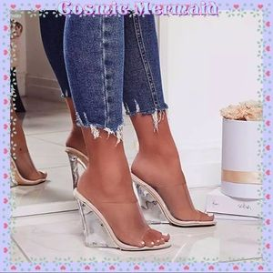 Shoes - 🆕💙Sexy Transparent Clear Nude Lucite Wedge💙Heel